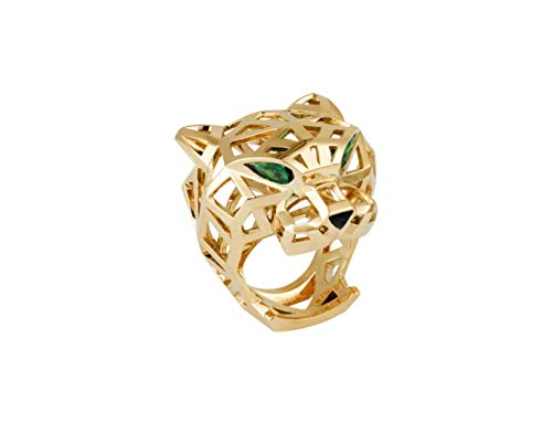 Panther Gold Ring,14k Yellow Gold Ring,Natural Emerald Eyes,Anniversary Ring for Women,All US Ring Size Available,Message us Your Ring Size.