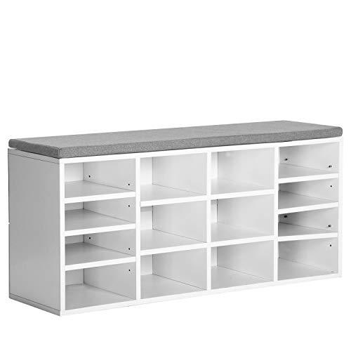 Leku Schuhregal, Schuhbank Holz Schuhschrank Sitzbank mit Sitzkissen 14 Fächern, Polsterung, für Eingangsbereich, Flur, Schlafzimmer, 103.5x30x45cm, Weiß Grau
