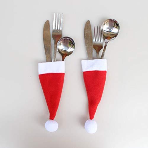 JIAAN Sombreros de la Navidad Mini Gorro Navideño,10 Piezas Mini Sombrero de Navidad Cuchillos Tenedores Bolsas para la Fiesta Navideña Decoración Navideña Gorro de Papa Noel