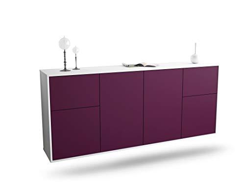 Dekati dressoir Hamelen hangend (180x77x35cm) romp wit mat | front kleurdesign | Push-to-Open modern lila