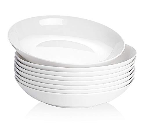 TGLBT Pasta/Salad Bowls 22 Ounce -Porcelain Bone China, lightweight, Set of 8,White