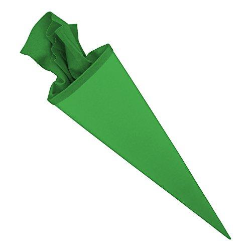 itenga Bastelschultüte 70cm rund Schultütenrohling mit Filzverschluss (Grün mit Filzverschluss)