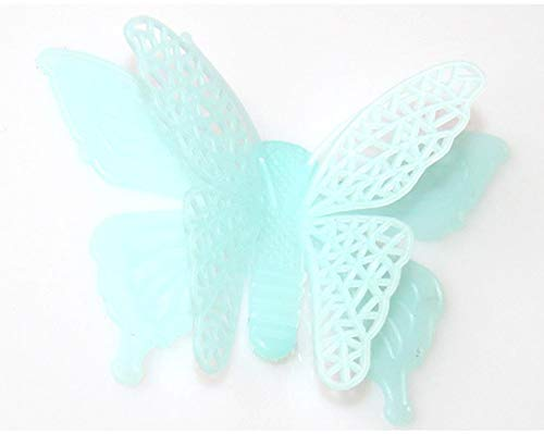 JJJee 7.8cm Mariposa Luminosa 6 Set Simulación Mariposa Artesanía de plástico 3D Estéreo Noche Luz Mariposa Pegatinas de Pared