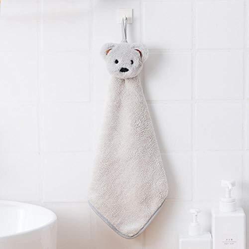 Cartoon Beer Kinderen Handdoek Coral Fleece Handdoek voor Babybad Leuke Absorberende Wisp Handdoeken Babybadkamer Hangende Handdoek # 8, Lichtgrijs