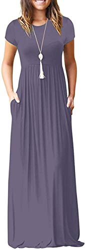 DEARCASE Women's Round Neck Short Sleeves A-line Casual Dress with Pocket Purple Gray Medium