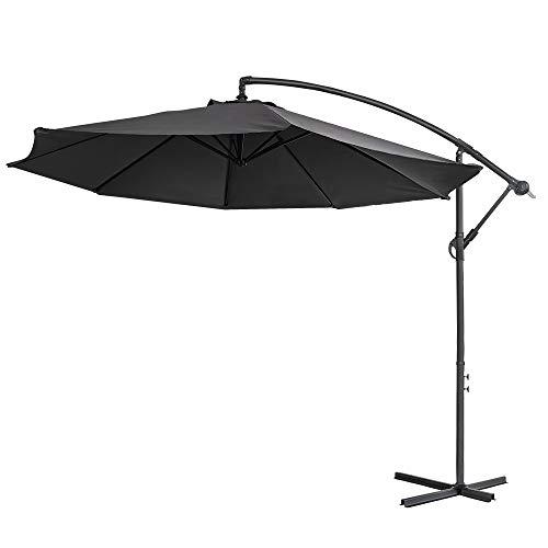 Aufun Alu Sonnenschirme 350cm mit kurbel UV Schutz 40+ - Dunkelgrau balkonschirm gartenschirm höhenverstellbarer (Dunkelgrau)