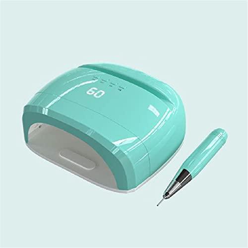 ZYC 4 en 1 lámpara de uñas UV Recargable eléctrica Máquina de perforación de uñas Manicura Pedicura Luz de Clavo Lámpara LED de Clavo inalámbrico,Verde