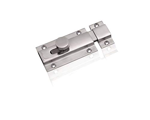 Nixnine Heavy Duty Stainless Steel Door Security Latch Lock Tower Bolt,Baby Latch,for Home, Bathroom, Kitchen, Office Pack of 1, (4 Inch)