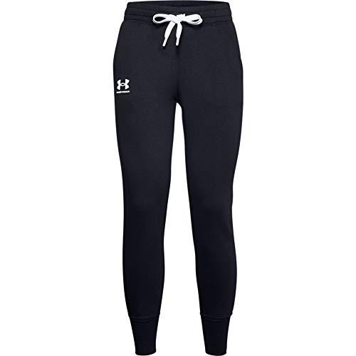 Under Armour Rival Pantalones de chándal de Forro Polar para Mujer, Not Applicable, Rival - Pantalones de chándal, Mujer, Color Negro/Blanco/Blanco (001), tamaño Extra-Large