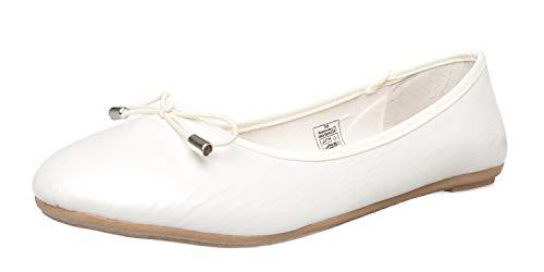 Fitters Footwear That Fits Donne Ballerine Mila Sintetico Ballerine in Vernice con Fiocco (42 EU, Bianco)
