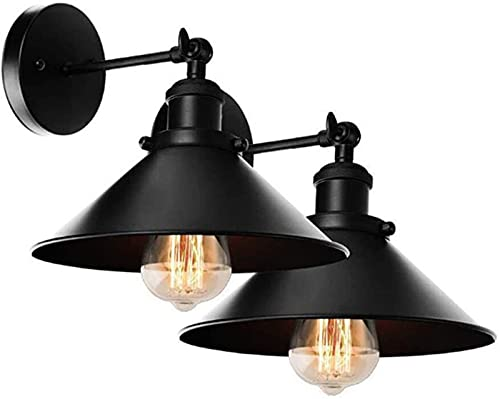 Aplique de pared industrial E27, lámpara de pared basculante de doble polo ajustable con interruptor y enchufe, aplique retro de iluminación interior para sala de estar, dormitorio, porche, cafetería,