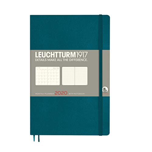 LEUCHTTURM1917 360049 Monatsplaner mit Notizbuch Softcover Paperback (B6+) 2020, Pacific Green, English