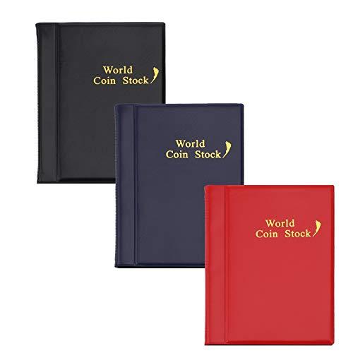 Hileyu 3 Pezzi Album da Collezione di Monete,Raccoglitore per Monete da Collezione Album 120 Tasche Portamonete per Collezionisti Raccoglitore per Collezione di Monete (3 Colori)