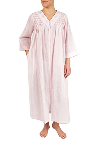 Miss Elaine Women's Long Seersucker Zipper Robe, with 3/4 Sleeves, and Two Inset Side Pockets (Medium, Blue)