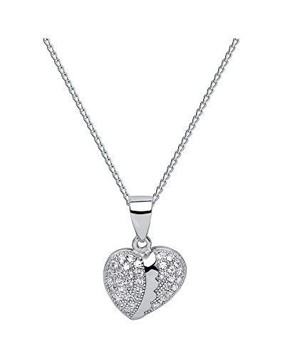 *Oro Cavallo* - Zirkonia Herz - Tolle Halskette Herz mit Swarovski® Zirconia - mit Silberkette aus 925 Silber - Halskette mit Schmucketui
