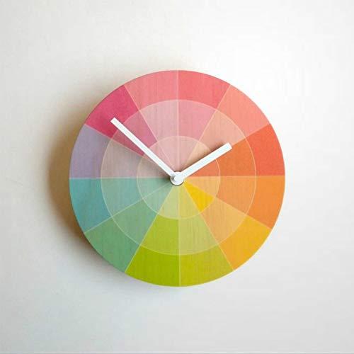 Color S-watch Reloj de pared de madera reloj redondo silencioso sin garrapatas 12 pulgadas funciona con pilas en casa oficina escuela