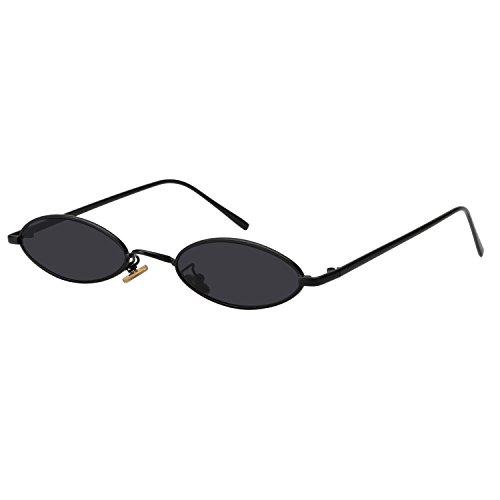 ROYAL GIRL Vintage Oval Sunglasses Small Metal Frames Designer Gothic Glasses (BLACK GRAY)
