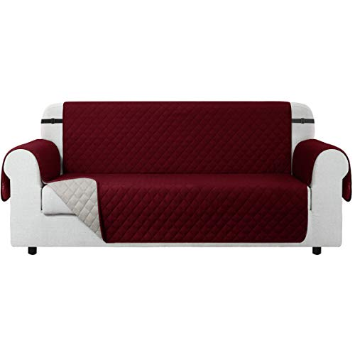 CHUN YI Funda para sofá Funda Reversible para sofá, Protector para sofá con Correas elásticas Ajustables (2 Plazas, Rojo Vino)