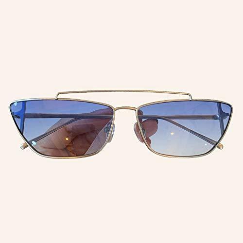 YJDZHSQ Metalen Frame Vintage Rechthoek Zonnebril Vrouwen Mannen Merk Kat Oogschaduwen Zonnebril