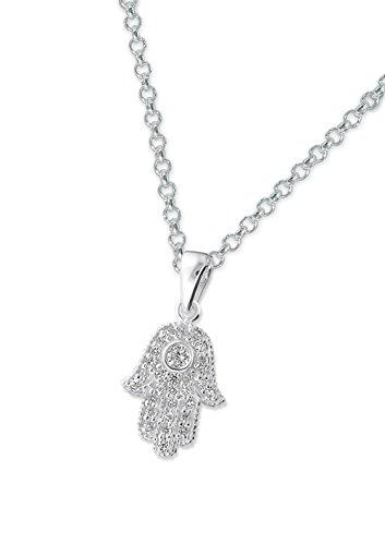 Laimons Collier avec pendentif pour femme main de Fatma brillant zircone argent sterling 925