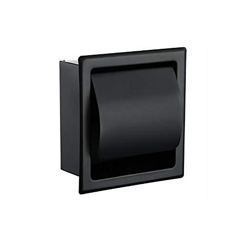 Aiboduo Papierhalter Modern Wandhalter matt schwarz 304 Edelstahl Bad Toilettenpapierhalter Rolle Papiertücherbox 2248MB