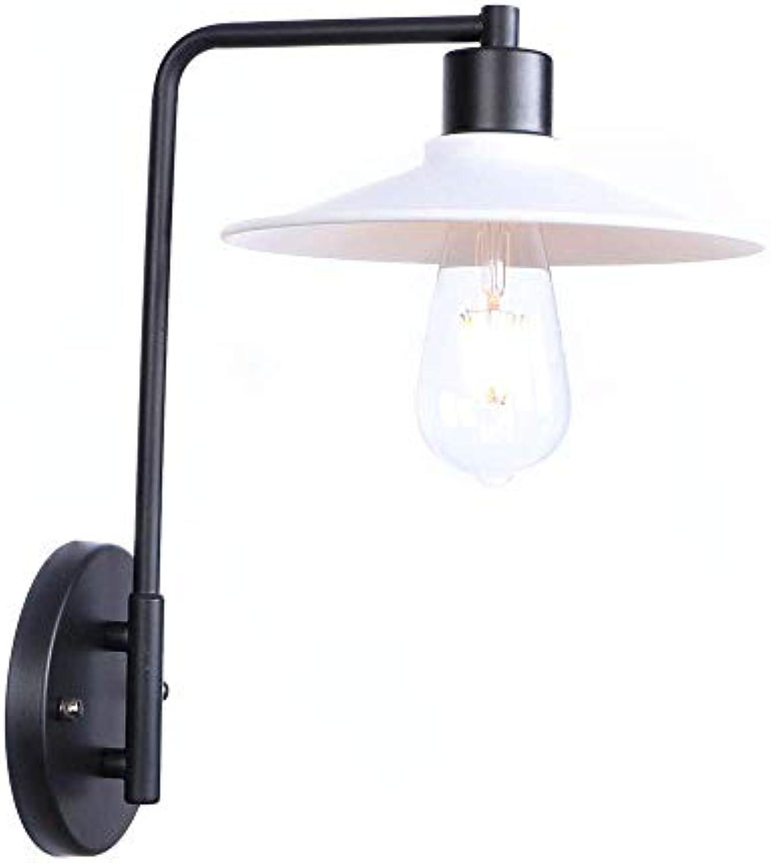GONGFF Amerikanischen Stil Vintage Loft Einfachheit Stil Wandlampen Wohnzimmer Schlafzimmer Nachttischlampe Metall Eisen Kunst Dekoration Wandleuchte, Wei