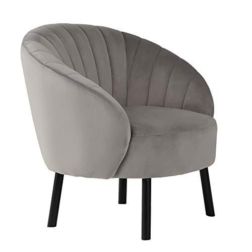 N\C Modern Wohnzimmer Sessel Sitzhöhe 40cm mit U-förmige Tuftingbespannung Lounge TV Sessel für Wohnzimmer und Schlafzimmer Sofa Stuhl bis Grau 150 kg