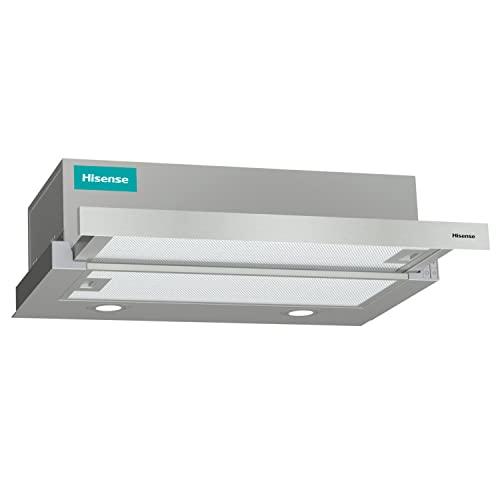 Hisense CH6TL4BX - Campana Telescópica 60 cm, Capacidad de Succión de 450 m³/h, Iluminación LED, Fácil Limpieza y Mantenimiento