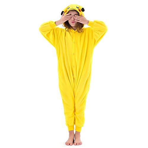 Beauty Shine Unisex Child Pikachu Costume Halloween Cosplay Pajamas (95, Pikachu)