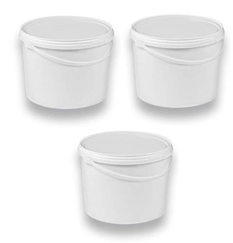3 x 10 Liter Eimer mit Deckel weiß, stapelbarerer Milch-/Vorratseimer, Honigeimer Kunststoffeimer mit Lebensmittelfreigabe, Lebensmittelechte Behälter, Leereimer für Mehl, Wassereimer, 3 Stück