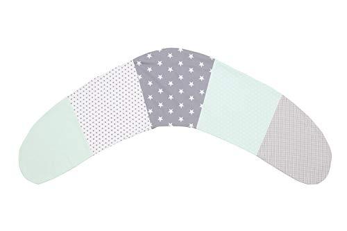 Housse de coussin d'allaitement ULLENBOOM ® menthe gris (housse pour coussin d'allaitement 190x38cm, coton, avec fermeture zippée)