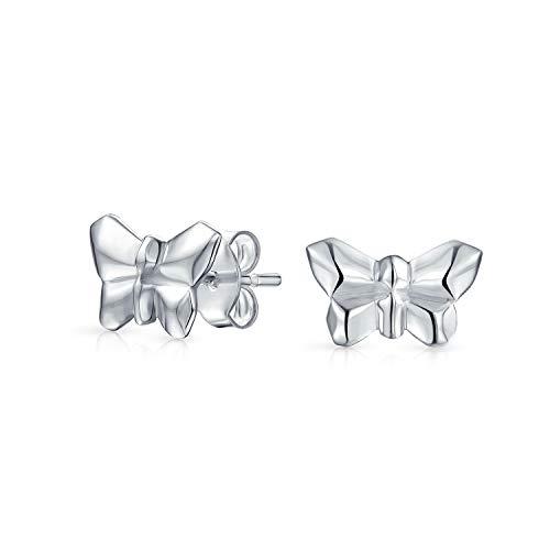 Pequeño Jardín 3D Geométricas Pendiente De Boton Mariposas De Origami Para Mujer Para Adolescente 925 Plata De Ley 925