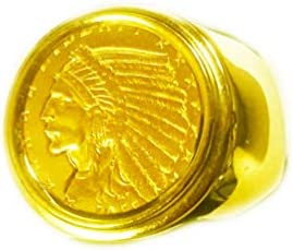 GENUINE INDIAN HEAD 2 1 2 DOLLAR GOLD COIN in 14K GENTS RING MOUNTING product image