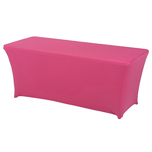 Haorui Rectangular Spandex Table Cover (6 ft. Fuchsia)