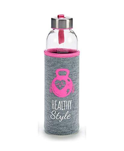 TAPAS & ENVASES RIOJA Botella de Agua Cristal Botella de Agua Reutilizable sin bpa con Funda de Neopreno Botella de Deporte térmica con tapón de Aluminio a Rosca Incluido de 500Ml (Rosa)