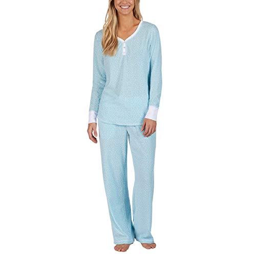 Nautica Women's 2 Piece Fleece Pajama Sleepwear Set (Light Blue Dots, XX-Large)