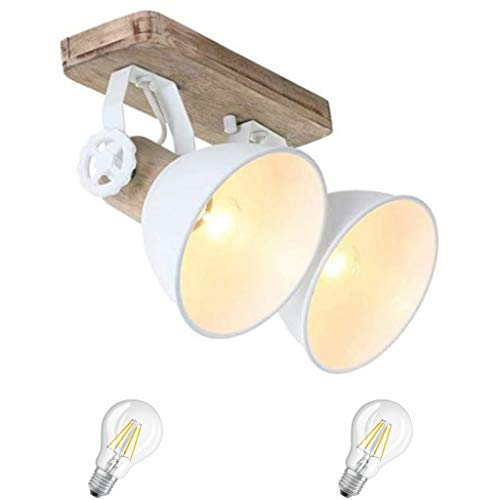 STEINHAUER 7969W Strahler Wohnzimmer Küche Schlafzimmer Deckenlampe Holz Metall Vintage Industrie Lampe Wandleuchte 2fl. inkl. 7 Watt Filament E27 Vintage Led Lampe Holz Metall (7969W incl. LED)
