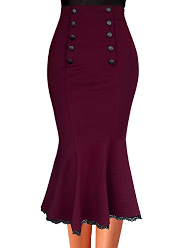 VFSHOW Women Dark Red Vintage Buttons Work Office Business Party Mermaid Pencil Midi Skirt 2735 RED L