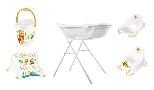 7er Z Set Disney Winnie Pooh weiß Badewanne XXL 100 cm + Badewannenständer + Topf + WC Aufsatz + Hocker + Windeleimer + Waschhandschuh