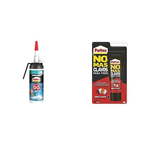 Pattex 2246860 Silicona Go Baños, Silicona Blanca Para Una Aplicación Fácil Y Precisa+ No Mas Clavos Para Todo Hightack Adhesivo De Montaje Resistente A Temperaturas Extremas