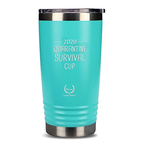 Quarantine Survival Cup Gifts-2020 Funny Novelty 20oz Wine glass Personalized Present for Women, Men, Coworkers, Friends - Vacuum Insulated Tumbler Blue…