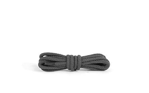 Kaps Runde Schnürsenkel, hochwertige strapazierfähige 100% Baumwolle Schnürsenkel, hergestellt in Europa, 1 Paar, viele Farben und Längen (75 cm - 4 bis 5 Ösenpaare / 84 - dunkelgrau)