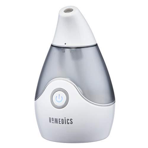 Personal Portable Ultrasonic Cool Mist Humidifier | 22 Oz Reservoir, 10 Hour Runtime, Automatic Shut-Off | BONUS WICK FILTER, Whisper Quiet, Compact | HoMedics TotalComfort UHE-CM15-SO | Grey
