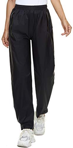 BenBoy Pantalon Imperméable Femme Respirant Séchage Rapide Coupe-Vent Résistant Pantalon de Pluie Réglable Randonnée,KZ5217W-Black-L