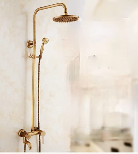 Juego de ducha de cuatro velocidades de cobre antiguo, grifo de latón ducha de lluvia, ducha retro de tres velocidades