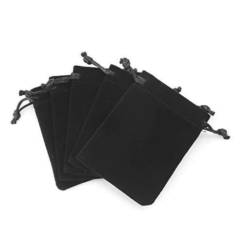 MYA 5 Stück Würfelsäckchen Samt Kordel Beutel Tarot Karte Schmuck Tasche Würfel Tarot Karten Geschäft Tasche 10 x 12 cm schwarz