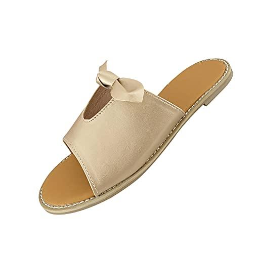 Sandalias de mujer con tacón bajo y punta cuadrada, ligeras, para piscina., dorado, 35 EU