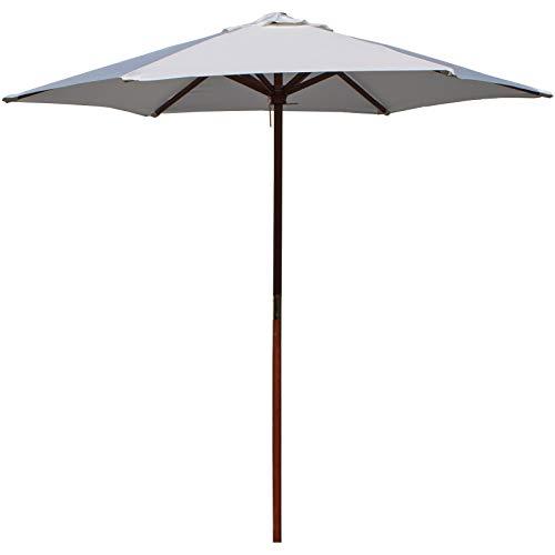 Marko Outdoor 2M/2.5M Parasol Wooden Umbrella Sunshade Outdoor Patio Garden Furniture Cafe Canopy (2M - Cream)