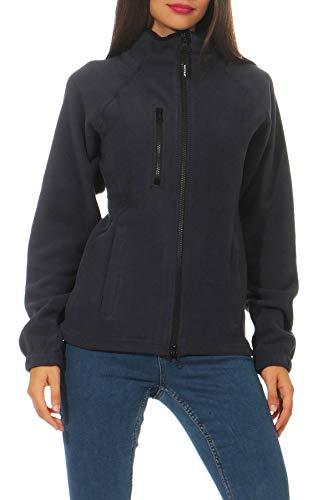 Happy Clothing Damen Fleecejacke Microfleece Outdoor-Jacke ohne Kapuze mit Kragen Dunkelblau Schwarz S M L, Größe:S, Farbe:Dunkelblau