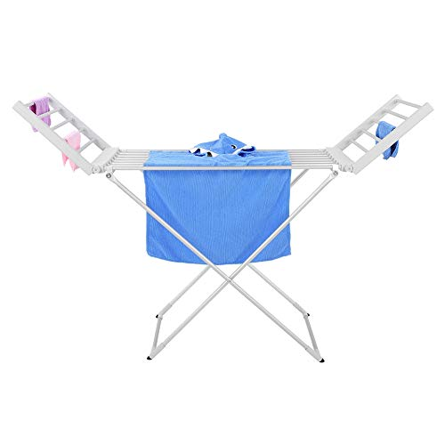 Zerone Drying Rack 220W Folding Electric Clothes Dryer Aluminum Clothes Drying Rack Hanger for Home Dormitories Hair Salons HotelsWhite